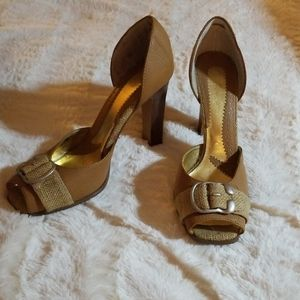Tan pumps with man made upper and stacked heel
